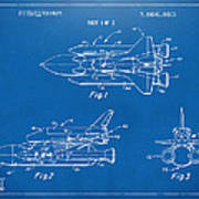 1975 Space Shuttle Patent - Blueprint Art Print by Nikki Marie Smith
