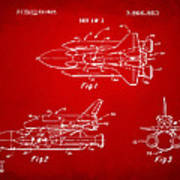1975 Space Shuttle Patent - Red Art Print