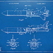 1975 Space Vehicle Patent - Blueprint Art Print by Nikki Marie Smith