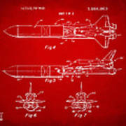 1975 Space Vehicle Patent - Red Art Print