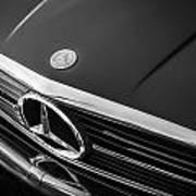 1984 Mercedes 500 Sl Convertible Bw Art Print