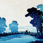 19th C. Japanese Father And Son Crossing Bridge Art Print