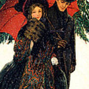 19th C. Young Couple In Winter Art Print