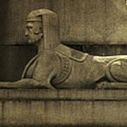 19th Century Granite Stone Sphinx Sepia Profile Poster Look Usa Art Print