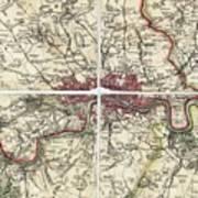 18th Century Map Of London Art Print