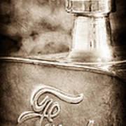 1911 Ford Model T Torpedo 4 Cylinder 25 Hp Hood Ornament - Emblem Print by Jill Reger