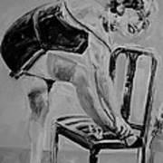 1920s Girl Black And White Art Print