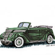 1937 Ford 4 Door Convertible Art Print
