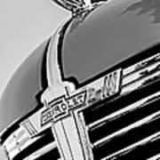 1938 Chevrolet Coupe Hood Ornament -0216bw Art Print