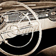 1956 Oldsmobile Starfire 98 Steering Wheel And Dashboard Art Print
