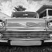 1958 Chevrolet Bel Air Impala Painted Bw  Art Print