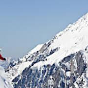 A Man Skis Untracked Powder Off-piste Art Print