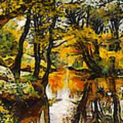 A River Landscape In Springtime Art Print