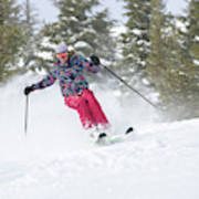 A Skier Descends A Snowy Slope Art Print