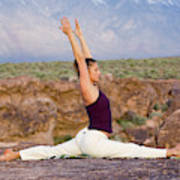 A Woman Practicing Yoga On A Dry Lake Art Print
