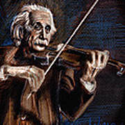 Albert Einstein And Violin Art Print