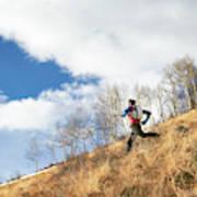 An Adult Male Trail Running Art Print