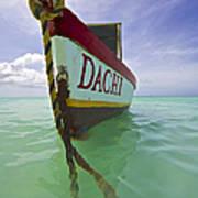 Anchored Colorful Fishing Boat Of Aruba II Art Print
