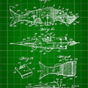 Artificial Bait Patent 1923 - Green Art Print