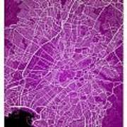 Athens Street Map - Athens Greece Road Map Art On Color Art Print