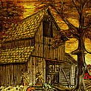 Barn and Wheelbarrow Art Print