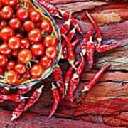 Basket Of Ripe Cherry Tomatoes And Dried Red Chillies On Rustic  Art Print