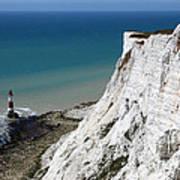Beachy Head Cliffs And Lighthouse  Art Print