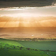 Beautiful English Countryside Landscape Over Rolling Hills Art Print by Matthew Gibson
