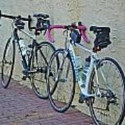 2 Bikes Against Wall Art Print