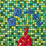 Blue Square Flowers Art Print