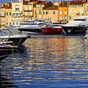 Boats At St.tropez Print by Elena Elisseeva