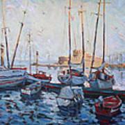 Boats In Rhodes Greece  Art Print