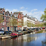 Boats On Amsterdam Canal Art Print