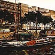 Boats On The Seine Art Print