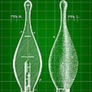 Bowling Pin Patent 1895 - Green Art Print