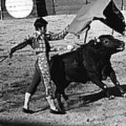 Bull Fight Matador Charging Bull Us-mexico  Border Town Nogales Sonora Mexico 1978-2012 Art Print