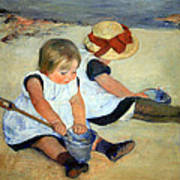 Cassatt's Children Playing On The Beach Art Print