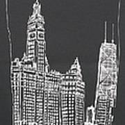 Chicago Wrigley And Hancock Buildings Art Print