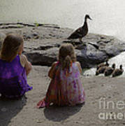 Children At The Pond 3 Art Print