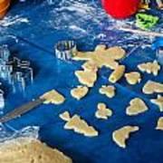 Children Baking Christmas Cookies Art Print