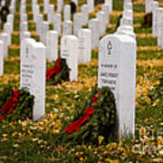Christmas Wreaths Laid At The Arlington Cemetery Art Print