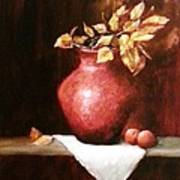 Clay Vessel And Peaches Art Print