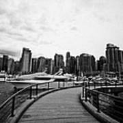 coal harbour marina and high rise apartment condo blocks in the west end Vancouver BC Canada Art Print