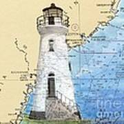 Cockspur Island Lighthouse Ga Nautical Chart Map Art Cathy Peek Art Print