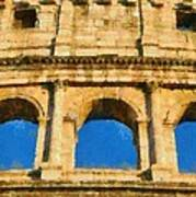 Colosseum In Rome Under Late Afternoon Light Art Print