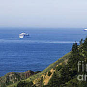Container Ship On Open Water Art Print