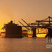 Container Ships Docked In Port Of Oakland Art Print
