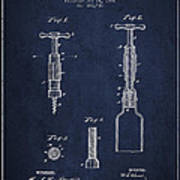 Corkscrew Patent Drawing From 1884 Art Print