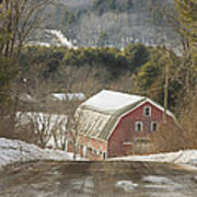 Country Road And Barn In Winter Maine Art Print