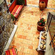 Courtyard Of A Villa Art Print by Elena Elisseeva